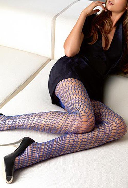 синие ажурные колготки фото